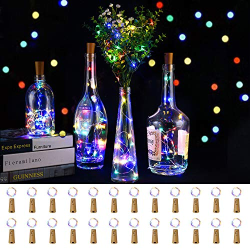 LEDIKON 24 Pack 20 Led Colored Wine Bottle Lights with Cork,3.3Ft Silver Wire Colorful Cork Fairy Lights Battery...