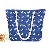 Brand New Canvas and Zipper Design Women's Shoulder Bag Summer 2019 Beach Bags,blue