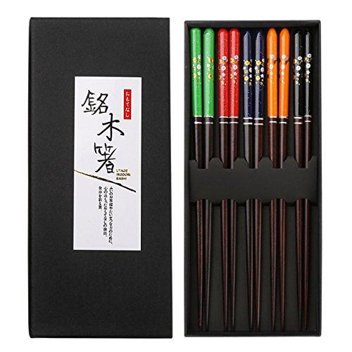 TOTKEN - Palillos de madera de 5 colores, estilo japonés, respetuoso con el medio ambiente, con caja de regalo (5 pares)