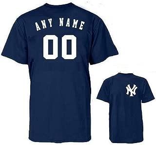 New York Yankees MLB Officially Licensed 100% Cotton Crewneck (Name & Number on Back) Adult Medium Blue
