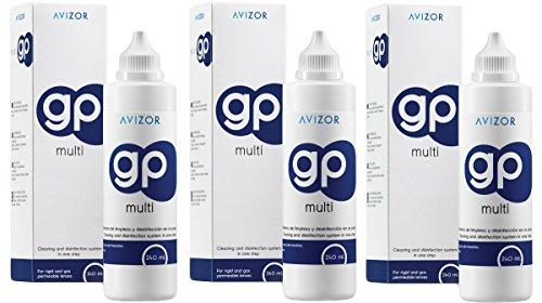 Avizor GP Multi Kontaktlinsenlösung für starre und gasdurchlässige Kontaktlinsen, 240 ml, 3 Stück