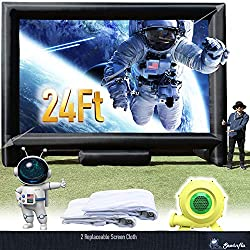 small 24-foot inflatable megascreen for outdoor cinema – front and rear projection – portable blast…