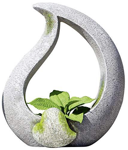 dekojohnson Moderne Deko Garten-Skulptur zum Bepflanzen mit Herz aus Magnesia Stein-Farbe Gartenfigur Gartendeko 15x26x30cm Granit-Optik
