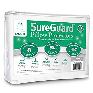 Set of 2 Smooth SureGuard Pillow Protectors - 100% Waterproof, Bed Bug Proof, Hypoallergenic - Premium Zippered Cotton - 10 Year Warranty - Queen Size