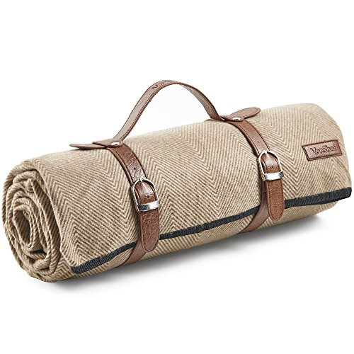 "VonShef Picnic Blanket - Large 58"" x 71"" Soft Waterproof Folding Picnic Blanket for Outdoor Picnics, Beach, Camping - Herringbone Pattern"