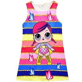 Thombase Lol Surprise Enfants Fille Princesse Robe Fête d'anniversaire Rayure Papillon Imprimer Soirée Jupe Chemise De…