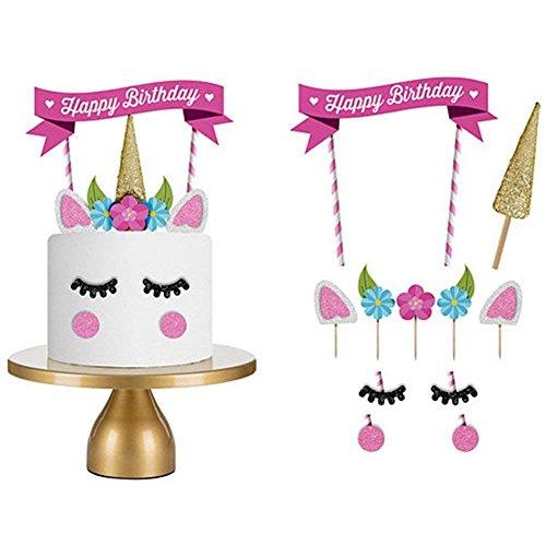 Towinle Kuchen Topper Einhorn, Geburtstagstorte Topper Set Cake Party Dekoration Unicorn Tortendekoration DIY Kinder