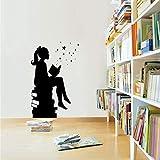 Chica libro de lectura magia pared arte calcomanía biblioteca pared educación vinilo pegatina aula arte de coración etiqueta A4 56x100 cm