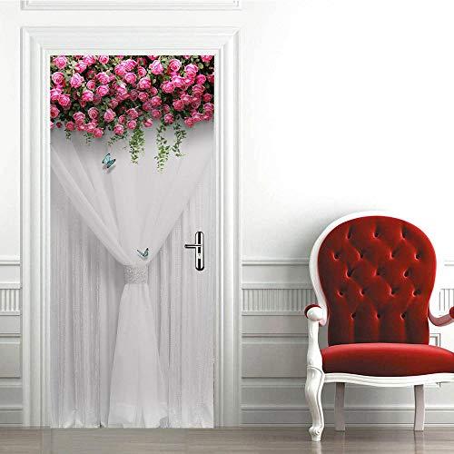 3D Türaufkleber Selbstklebend Zitat Wandaufkleber Mode Pflanze Rosenschirm Pvc Wasserdicht Selbstklebende Badezimmertür Aufkleber Für Wohnzimmer Schlafzimmer Wandaufkleber Weihnachten 77X200 Cm