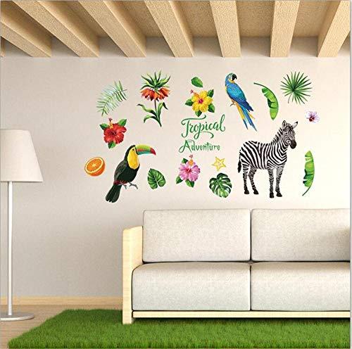 Tropical zebra porche estudio armario sala de estar escalera comedor dormitorio y otras pegatinas decorativas de pared 50 * 70 CM