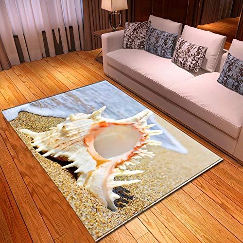LGXINGLIyidian Alfombra Conchas Y Estrellas De Mar De Playa Hermosa Alfombra Suave Antideslizante De Decoración del Hogar De Impresión 3D X-403U 100X150Cm