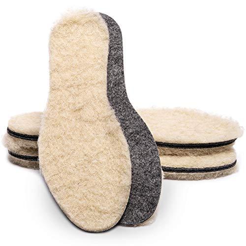 SULPO Filz Einlegesohlen mit Schafwolle - Warme Isolierende Schuheinlagen aus Wolle – Thermo Schuheinlagen mit echter 100% natürlicher Schafswolle - Einlagen für Winterschuhe / 3 Paar, Gr. 35-47