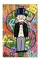 モナリサグラフィティ壁アートパネル抽象お金絵画インテリアストリートアートパネルポスター印刷世界isあなたのモダンアートパネル壁写真ホーム装飾50x70cmいいえフレーム -4