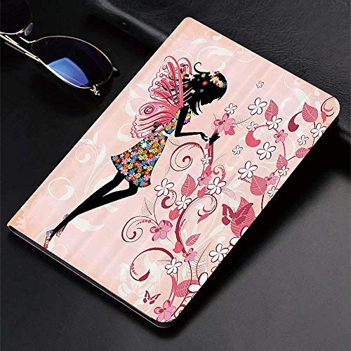Case for iPad (9.7-Inch, 2018/2017 Model, 6th/5th Generation)Ultra Slim Lightweight Smart Cover,Girls Fairy,Pink Butterflies and Flowers Beautiful Glamour Girl with Colorf,Smart Covers Auto Wake/Sleep