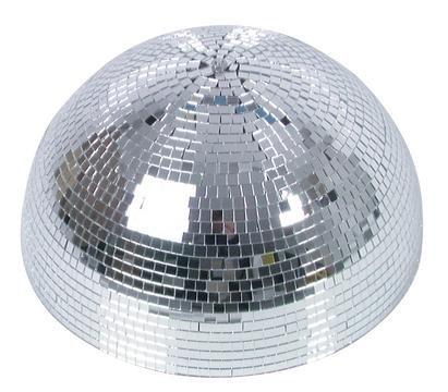 showking Disco - Halbkugel Glanz mit Sicherheitsmotor, Ø 40cm, Silber - halbe Discokugel mit Motor