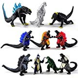 Set of 10 Dinosaur Action Figures, Godzilla Toys King of The Monsters Mini Dinosaur Playsets Kids Birthday Cake Toppers 2-3 Inches