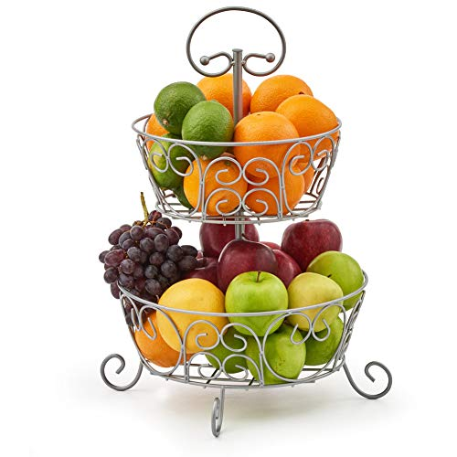 Ezoware fruitschaal met 2 verdiepingen, decoratieve fruitetagère van metaal, voor het opbergen van fruit, groenten, snoep, huishoudvoorwerpen, zilverkleurig