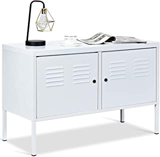 Tangkula TV Storage Cabinet with 2 Doors, Iron Style Multi-Function Lockable Cabinet, Home Office File Cabinet with Keys, Entertainment Media Center, TV Console, Multi-use TV Stand Cabinet (White)