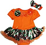 Petitebella Neck Rosettes Bodysuit Camouflage Baby Dress Nb-18m (Orange, 12-18 Months)