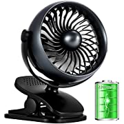 AIVANT Stroller Fan, 2200mAh Rechargeable Bettery Operated Personal Fan Clip On Fans with Aroma Diffuser Function,4 Gears Wind Speed