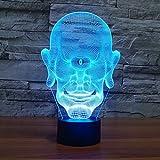 BFMBCHDJ Lámpara de escritorio LED monocular 3D Lámpara de noche de ahorro de energía colorida Lámpara de mesita de noche creativa 3D Base negra A3 + control remoto