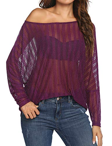 Zeagoo Women's Crochet Blouse Batwing Long Sleeve Shirt Lace Sheer Tops Purple