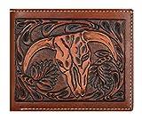 Custom 3D Belt Company Origional Brown amd Tan Cow Skull Wallet Bi-fold