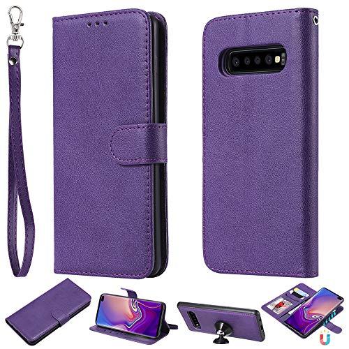 Capa carteira XYX para Galaxy S10 Plus, 2 em 1 de couro PU com capa fina removível para celular Samsung Galaxy S10 Plus 6,4 polegadas (roxo)