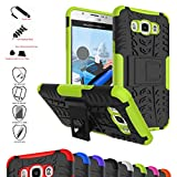 Galaxy J7 2016 Case,Mama Mouth Shockproof Heavy Duty Combo Hybrid Rugged Dual Layer Grip Cover with Kickstand for Samsung Galaxy J7 J710 2016 Smartphone(with 4 in 1 Packaged),Green