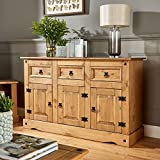 Home Source Solid Distressed Waxed Pine Mexican Style 3 Door 3 Drawer Sideboard Cupboard