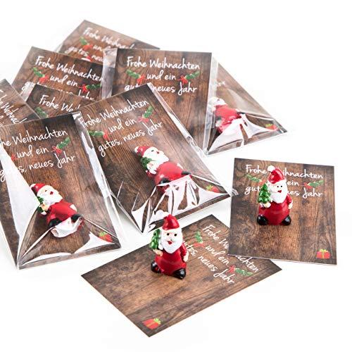 20 kleine mini Geschenke Engel Santa Nikolaus Weihnachtsmann rot weiß MIT KARTE FROHE WEIHNACHTEN give-away Mitgebsel Kunden Kollegen Mitarbeiter Freunde Glücksbringer