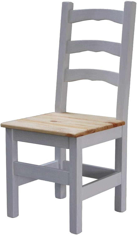 Elean Kuechenstuhl Holzstuhl Esszimmerstuhl Stuhl mit Lehne Kiefer massiv vollholz zusammengebaut Zweifarbich HSL - 01 (Wei - Gelt)