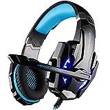 VersionTECH. Auriculares Cascos Gaming Juegos Estéreo con Micrófono Gaming Headset con 3.5mm Jack,Luz LED,Bajo Ruido-Compatible para Nueva Xbox One/PC/Ordenador Portátil/ Móvi/PS4(Azul)