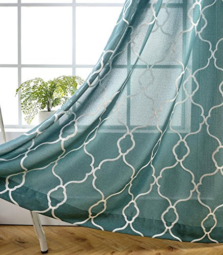 MIUCO Moroccan Embroidered Semi-Sheer Curtains Faux Linen Grommet Curtains for Living Room 52 x 84 Inch 2 Panels Set, Teal