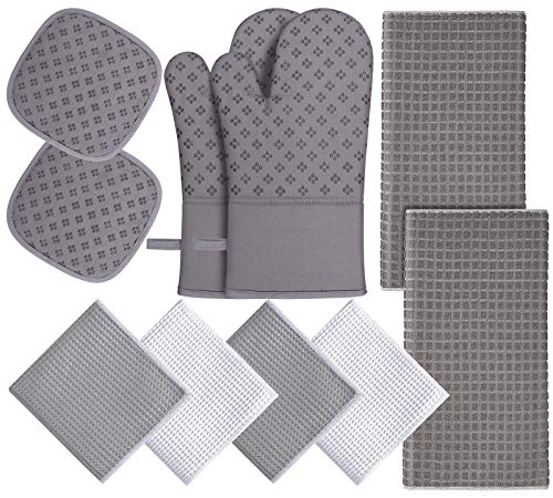 Oven Mitts and Pot Holders Set 10 Pcs ,with Kitchen Towels Dishcloths and Dish Drying Mat,500 Degree High Heat Resistant Oven Mitts,Microfiber Super Absorbent Soft Towels-for Kitchen,Cooking,Baking
