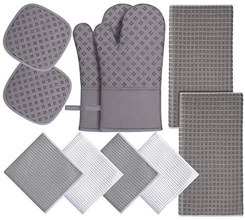 KURTVANA Manopla y soporte para ollas, toalla de cocina de rizo de algodón, color gris, juego de 10 piezas