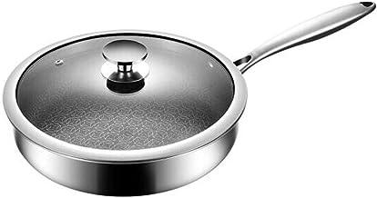 LJBH Frying Pan - Stainless Steel Frying Pan - Uncoated Non-stick Fried Steak Pot - -26/28/30 Cm Ergonomic handle design, ...