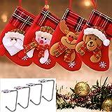 KAISILIN Medias de Navidad,4 Piezas Calcetines de Navidad para el árbol de Navidad Chimenea Decoración, Adorno de Navidad Bolsa de Dulces(4 Ganchos para calcetín de Navidad) (Rojo)
