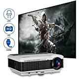 Home Theater Projector HD HDMI, Multimedia Video Projector with Built-in Speakers Zoom Keystone