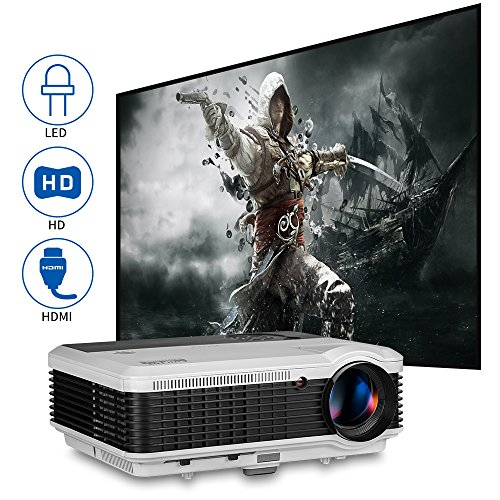 Movie Projector LED Home Theater LCD LED 4600 Lumens Digital HD Video Proyector Support 1080P Rear Ceiling Projectors with Zoom USB VGA AV RCA Audio HDMI Inputs for Phone PC Laptop TV Stick PS4 Games