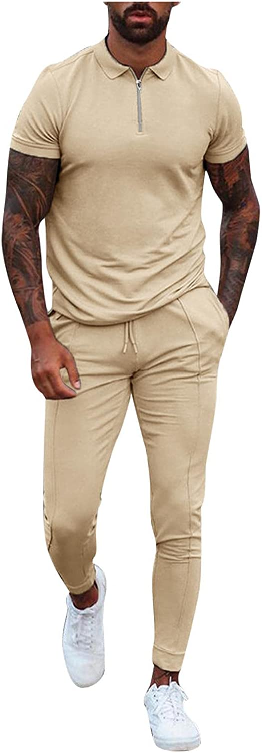Mens 2 Piece Tracksuits Solid Casual Short Sleeve Polo Zipper Shirts & Long Pants Outfits Slim Fit Sport Jogging Set