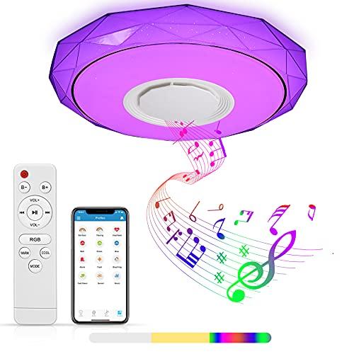 Lámpara LED Techo, Zorara 36W Plafon LED Techo con Altavoz Bluetooth Regulable RGB, Lampara Techo Habitacion LED con Control Remoto y APP, Plafon Cocina 3000-6500K para Baño Dormitorio Sala de