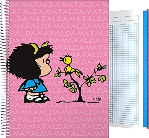 Grafoplás 16501949-Cuaderno Tapa Dura A4, Diseño Mafalda Pajarito, 140 hojas cuadriculadas