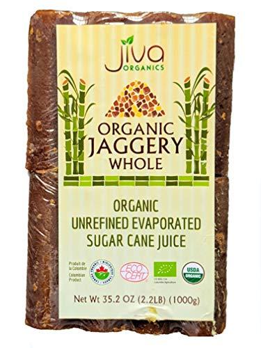 Jiva Organic Jaggery Whole (Gur, Panela) 2.2 LB (1000g) - Raw Wholesome Sugar / Organic Sugarcane