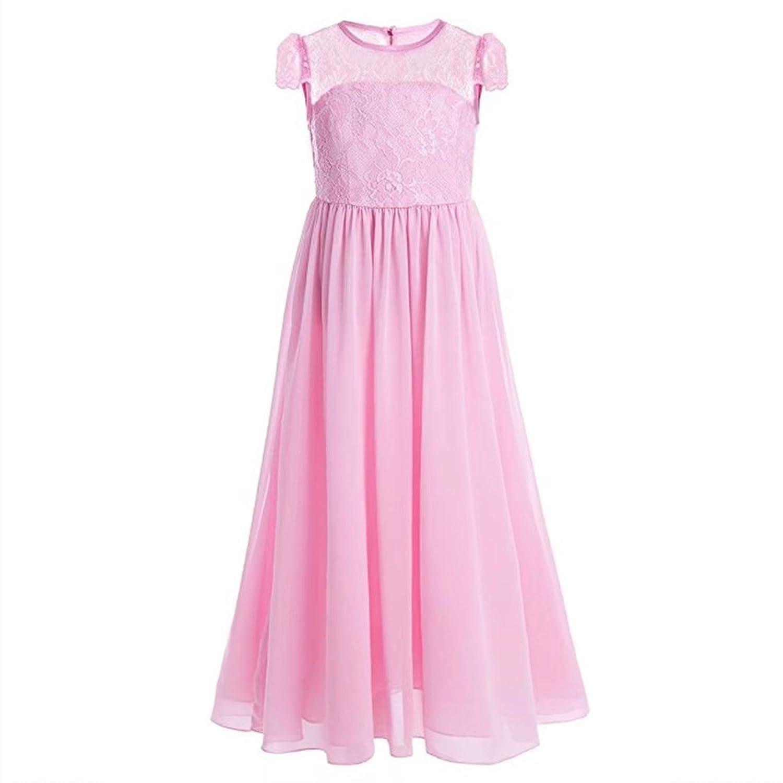 ZAH 子供服 ドレス ガールズワンピース フォーマルドレス キッズ 女の子 お嬢様 リボン付き 可愛い 発表会 結婚式 演奏会 パーティー(Pink,9Y)