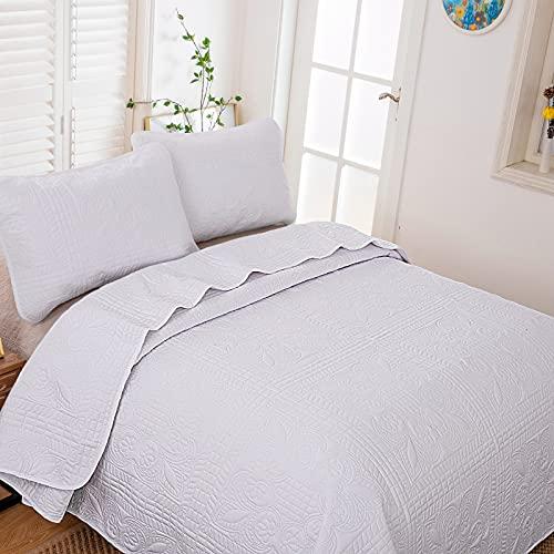 WONGS BEDDING Se Pueden Usar Colchas Blancas con Patrones en Camas y Sofás,Una Colcha Reversible,Transpirable y Cómoda de Doble Cara,Microfibra Super Suave (240x260cm)