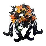 Guirnalda de guirnalda para puerta de entrada, guirnalda de piedras de bruja, decoración de Halloween de arce artificial para la decoración de la chimenea de la puerta
