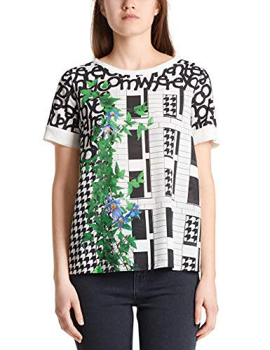 Marc Cain Collections Damen MC 55.16 J10 T-Shirt, Mehrfarbig (White and Black 190), 36 (Herstellergröße: 2)