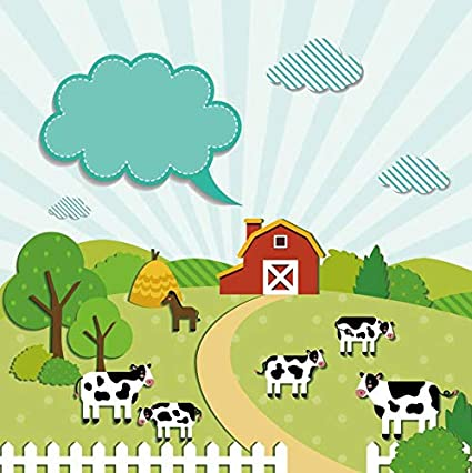 FHZON 10x7ft Cartoon Farm Photography Background Yellow House Cattle Sheep Dog Chicken Pig Backdrop Themed Party YouTube Backdrops Photo Booth Props LSFH566