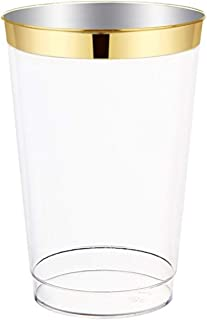 12oz Gold Plastic Cups 100 pack- Elegant Fine Dining Heavy Duty Clear Plastic Disposable Cups